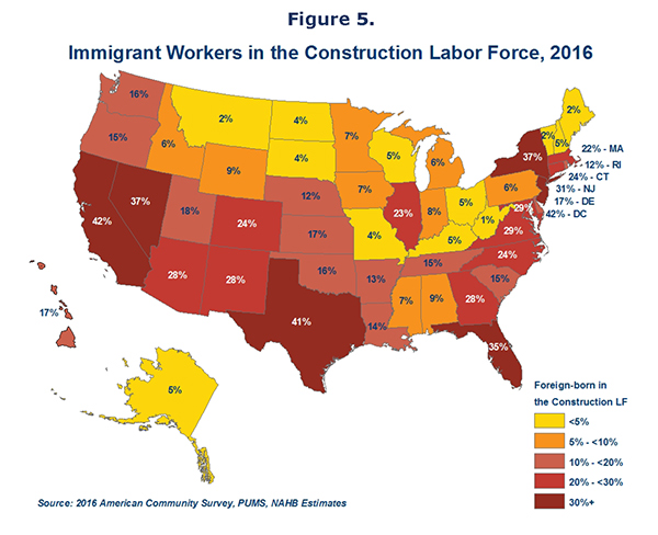 Figure 5. Immigrant Workers in the Construction Labor Force, 2016