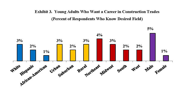 Exhibit 3. Young Adults Who Want a Career in Construction Trades