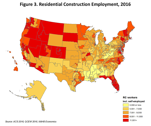 Figure 3. Residential Construction Employment, 2016