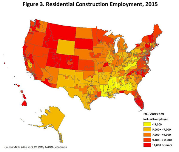 Figure 3. Residential Construction Employment, 2015